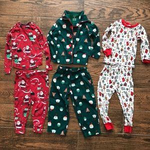 3 Sets of Toddler Boy Christmas Pajamas 2T